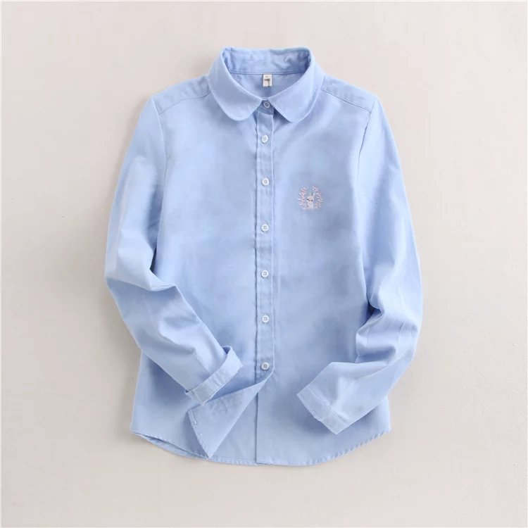 Brand Women Blouses Shirts 2018 New White Blue Casual Style Embroidery Long Sleeve Shirts Female Tops Art Style Blusas Blouse