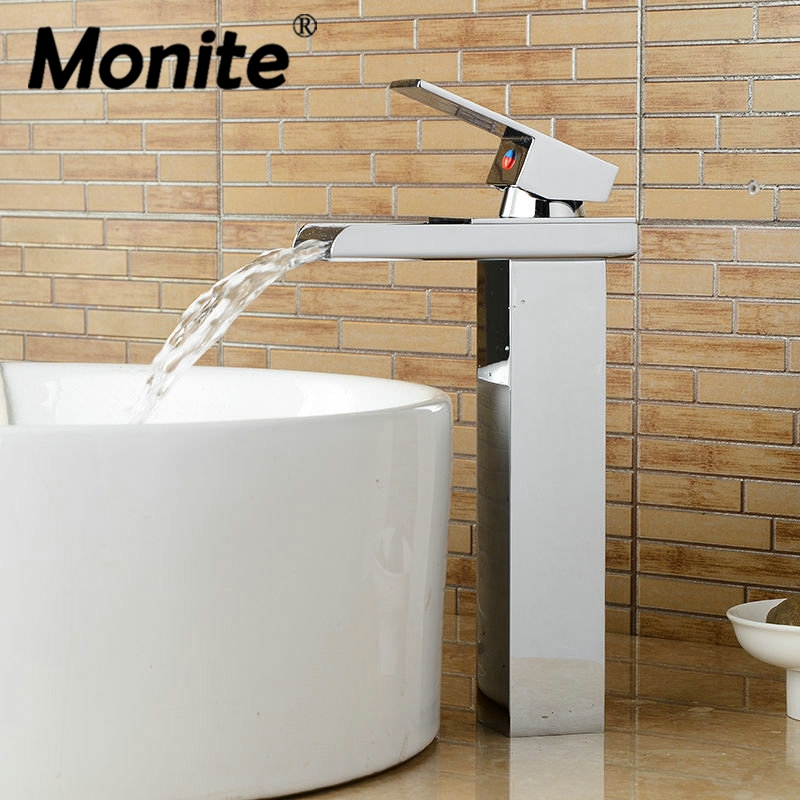 Bathroom Basin Sink Brass Mixer Tap Waterfall Vanity Faucet Chrome Finish New Single Handle with Wide Spout ceramic single handle bathroom vanity sink mixer tap chrome finished