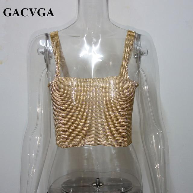 GACVGA 2020 Glitter Women Rhinestone Party Tank Tops Summer Beach Crystal Bustier Crop Top Sexy Diamonds Nightclub T-Shirt Camis 8