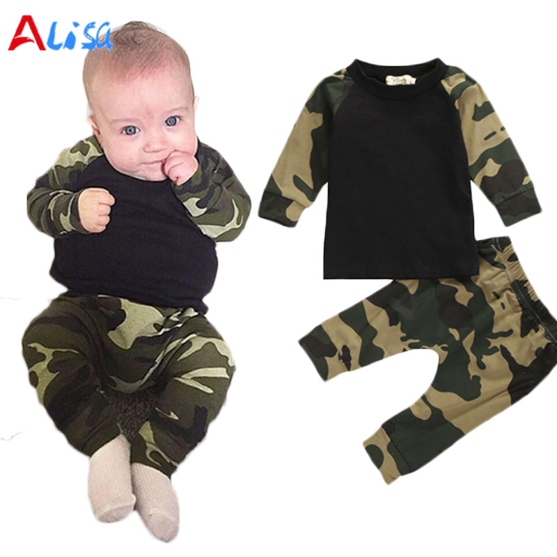 Camouflage Newborn Baby Boys Kids Casual T-shirt Tops + Pants Outfit Clothes Set free shipping