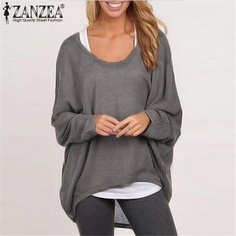 ZANZEA Hot Sale Women T-shirt 2018 Autumn Long Batwing Sleeve Casual Loose Tops Solid Tee Blusa Femininas O neck Plus Size Shirt