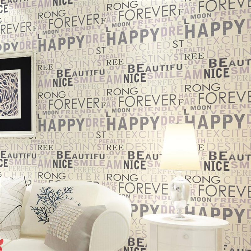 beibehang Simple modern English letter wallpaper 3D nonwovens wall paper living room bedroom TV background wall children room beibehang 3d velvet european style soft package non woven wallpaper modern simple living room bedroom tv background wall paper