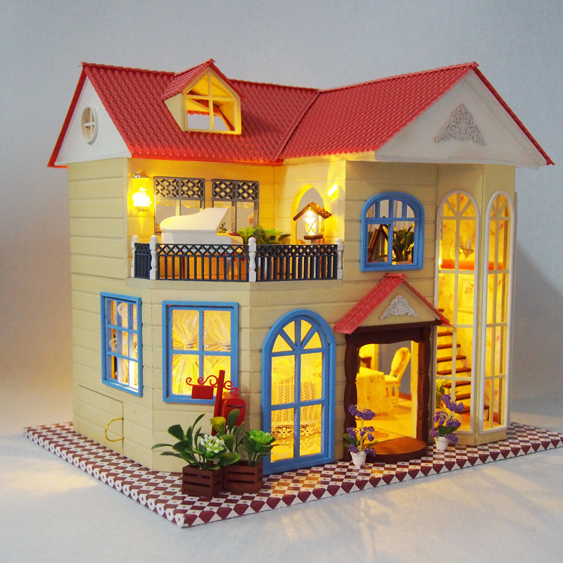 Luxury Prague Villa Cottage Wooden Dollhouse Furniture And LED Litht DIY Miniature Doll House Handcraft Model Puzzle Toy Gift