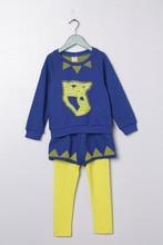 Весна Осень хлопка Детей набор 4 5 6 7 8 9 10 лет Девушки синий комплект одежды Топы и леггинсы с шортами свадебные платья