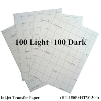 (200pcs=100pcs light+100pcs Dark) Iron On Inkjet Heat Transfer Paper for Tshirt Cotton Garment A4 Size Thermal Transfer Papel