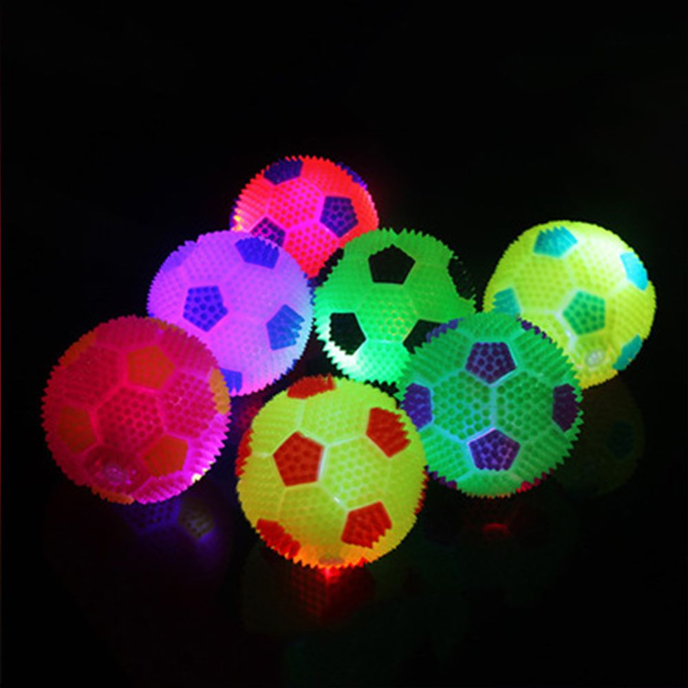 Brand New Creative Football Shape Luminous Bouncing Ball High Quality Flash Playball Kids Toy Gift Color Random Outdoor Toy