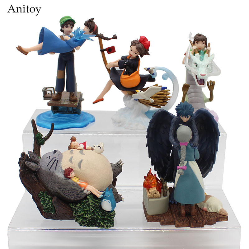 цены 5pcs/set Kiki's Delivery Service Spirited Away Totoro kurenai no buta Hayao Miyazaki Movie PVC Figure Collectible Toy 9cm KT4047