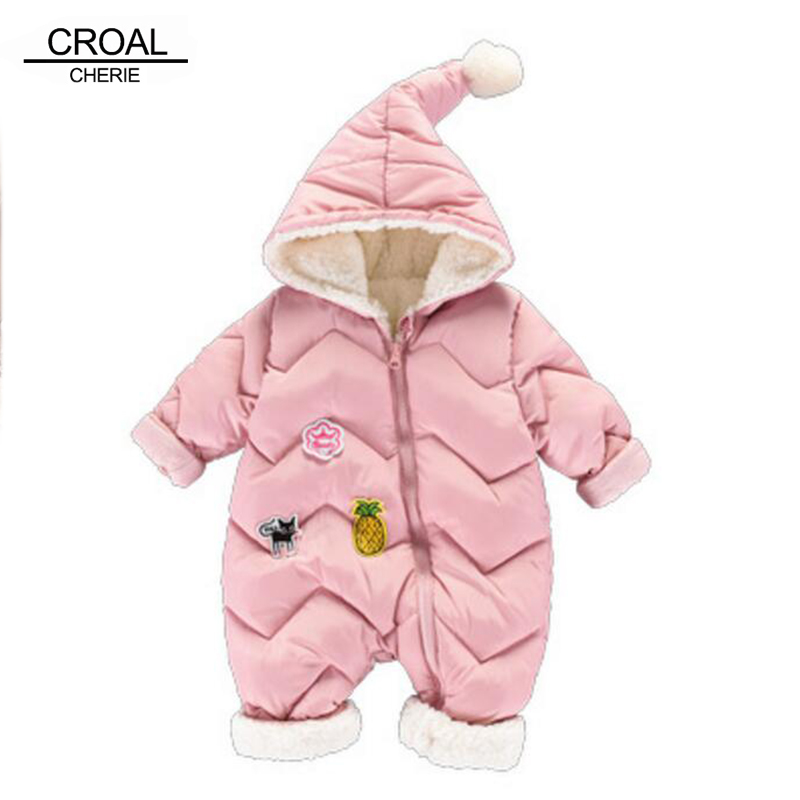 CROAL CHERIE 60-100cm Baby Winter Girls Boys Clothes Warm Fleece Velvet Newborn Baby   Romper   Infant Costume Pink Sky Blue