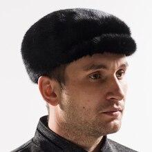 2017 новая зимняя мужская мода подлинной вся норки меховая шапка, чтобы согреться сплошной цвет высокое качество ручной работы крышка