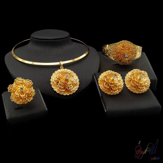 Yulaili цветы дизайн большие комплекты ювелирных изделий с классическим стилем для милых женщин в свадьбы, которая делает более прекрасным