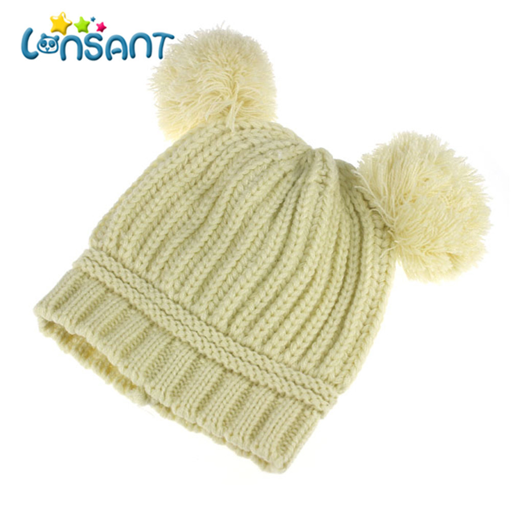 LONSANT New Hot Baby Girl Autumn Newborn Cute Baby Kids Girl Boy Dual Balls Warm Winter Knitted Cap Hat Beanie