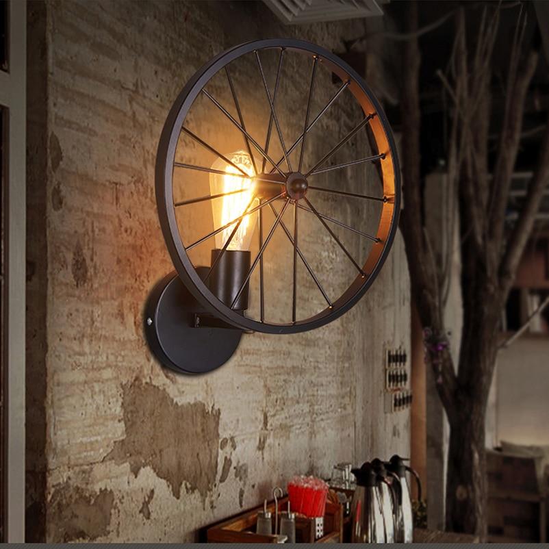 Creative personality Retro loft wheel wall lamp light,Restaurant Bar bedroom porch warehouse ...