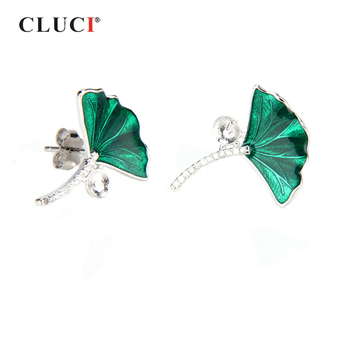 CLUCI 925 Sterling Silver Green Leaf Earrings Fine Jewelry Pearl Earring Mounting Silver 925 Green Stud Earrings SE040SB
