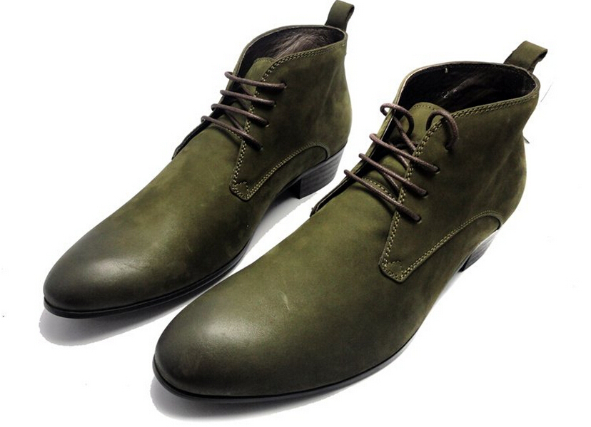New green black mens ankle boots casual shoes genuine leather outdoor shoes mens autumn shoes free