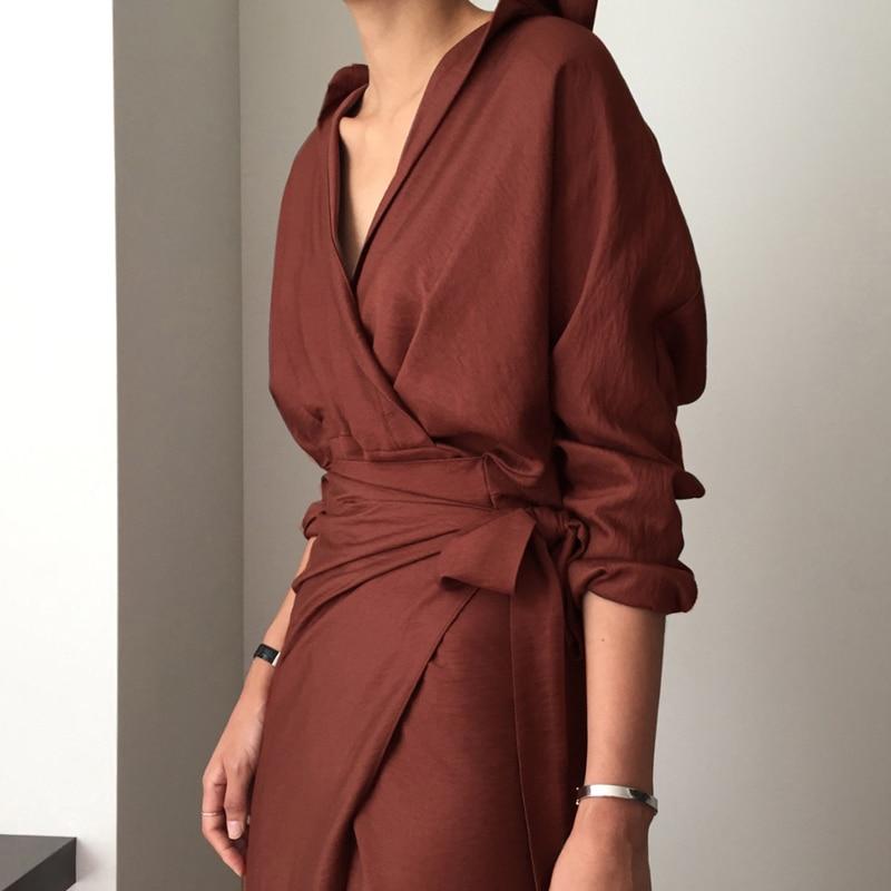 CHICEVER Bow Bandage Dresses For Women V Neck Long Sleeve High Waist Women's Dress Female Elegant Fashion Clothing New 19 23