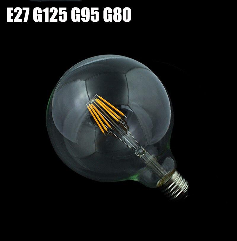 1x nouveau E27 LED Filament lumière verre Dimmable ampoule lampes 230 V 220 V 4 W-8 W 360 degrés rétro lampe éclairage Edison G125 G95 G80