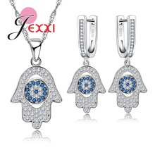 JEXXI Geometric 925 Sterling Silver Earrings Necklace Jewelry Set For Girls Birthday Gift White Blue CZ Rhinestone Party Set