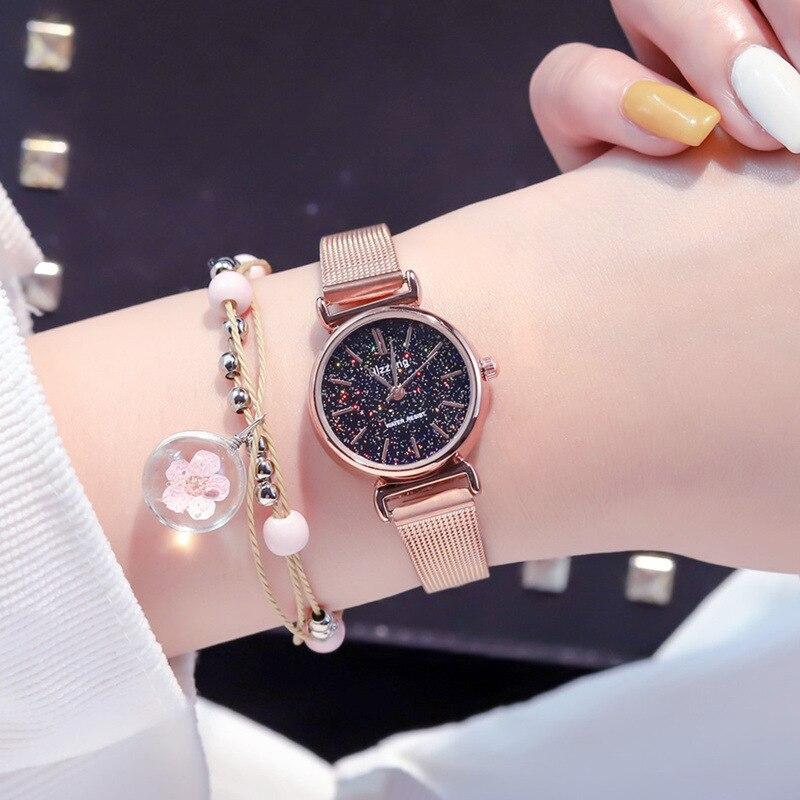 Женские часы браслет Starry Sky, элегантные кварцевые часы из кожи золотого цвета, 2019 Женские часы-браслеты      АлиЭкспресс
