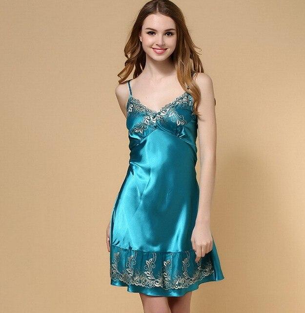 Girls Sexy Summer Sleepwear Dress Blue Red Spaghetti Women Nightgown  Nightdress Lace Satin Silk Soft Robes for Sleep Lingerie 05da9d484