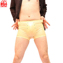 Sexy Men Hollow Plus Size U Convex Pouch Boxer Latex Punk Shiny Faux Leather Underwear Boxers Shorts Cool Male Gay Wear F45