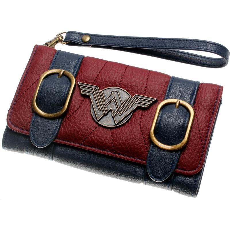 Wonder femme portefeuille double boucle tri pli rabat sac à main bleu/Bordeaux rouge brodé métal badge portefeuille femal DFT-6502 3