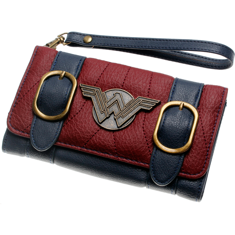 Wonder Woman  wallet  double buckle tri fold flap purse Blue / Bordeaux red embroidered Metal badge wallet femal  DFT-6502
