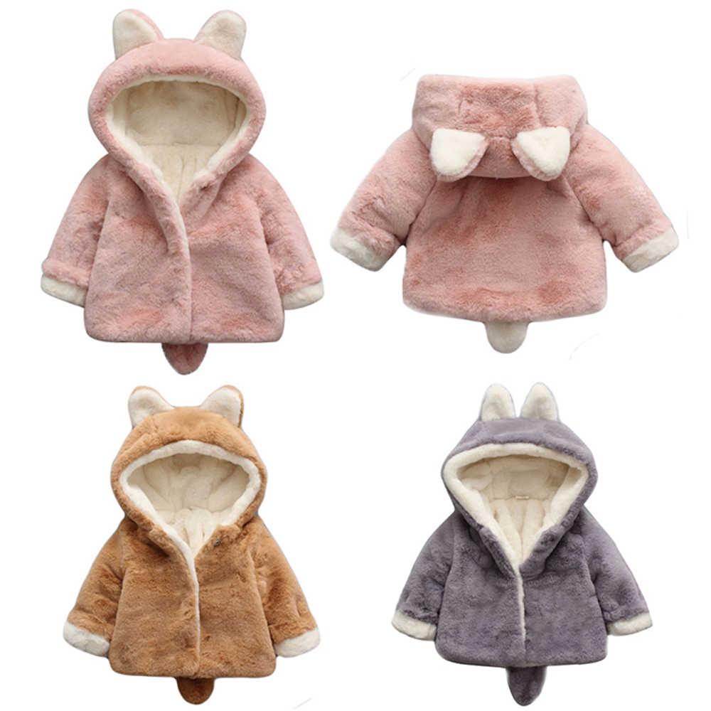 425542655fdf9 Infrant Baby Faux Fur Thicken Velet Jacket Coat Rabbit Ear Cute Hooded  Outwear Kids Boys Girls
