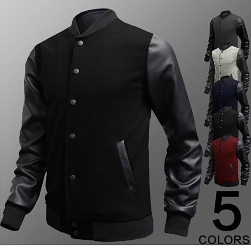 2019 Cool Mens Wine Red Baseball Jacket Autumn Fashion Slim Black Pu Leather Sleeve Bomber Jacket Men Brand Varsity Jackets Y1
