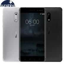 Оригинальный разблокирована Nokia 6 Android мобильного телефона Octa Core 5.5 «16.0 Мп 4 г Оперативная память Dual SIM отпечатков пальцев LTE Смартфон
