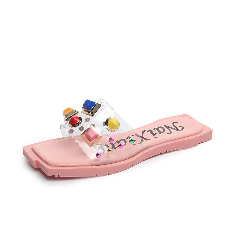 2018 New Summer Flat Slipper Word Candy Candy Sandals Studs Fashion Sandals.