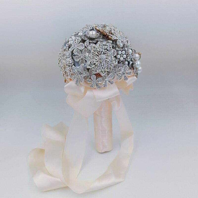 Fait à la main DIA 18 cm Bouquets de mariage de luxe en argent strass broche accessoires bijoux complet fleur de mariage Bouquet de mariée fleur