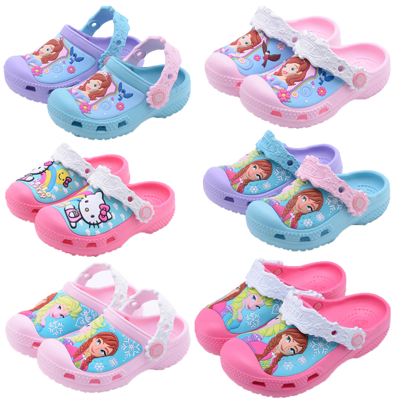 Snow Queen Elsa Anna Sofia Princess Baby Slippers 2018 Hello Kitty Swimming Shoes Kids Water Shoes Kids Slippers Cute Girl Shoes elsa shoes сандалии