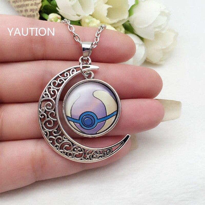 Tibetan Silver font b Anime b font Pokemon Pokeball Glass Hollow Moon Shape Pendant Necklace