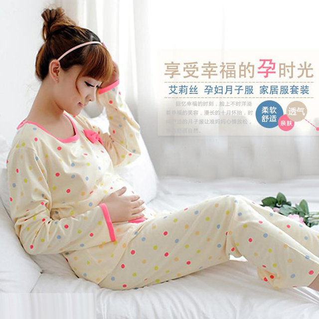 Plus Size XXXL Pregnant Women Sleep Lounge Clothes For Nursing Pajamas Home Wear Suit Maternity Clothing For Breast Feeding 2016