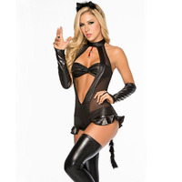 Womens Sexy Backless Halloween Catwoman Costume Black Faux Leather Cat Girl Cosplay Adults Sexy Exotic Lingerie Catsuits