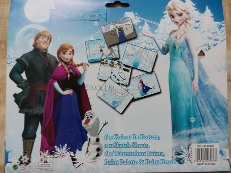Free Shipping Frozen Poster Art Set Childrens Educational Coloring Book W H Paint Brush Kids Learing Drawing Toy In Toys From