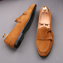 83d44c34ccc Fashion Men New Handmade Retro double monk buckle straps Casual Loafer  Shoes Moccasins Suede Leather Lazy