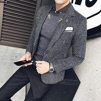 2017 autumn and winter Korean Slim thin striped woolen a buckle casual men's Blazer jacket gentleman British style coat
