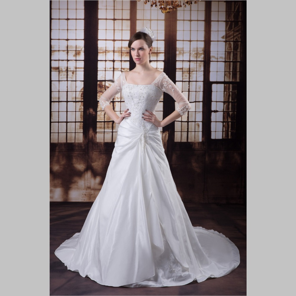 iLoveWedding Ball Gown Wedding Dresses Formal Square Neck Satin ...