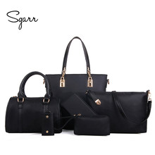 9785bf5db6 SGARR Luxury Women Handbag Shoulder Bags Fashion Nylon 6 Pieces Sets  Composite Bags Large Capacity Tote Bag For Women Clutch