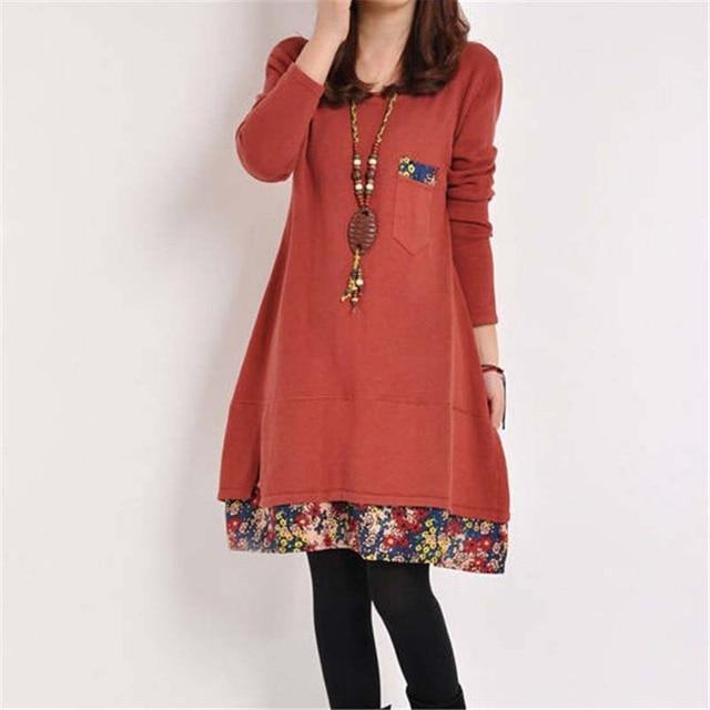2020 New Autumn Women Long Sleeve Dresses Winter Casual Floral Patchwork Pocket O-neck Loose Mini Dress Plus 4XL Spring Vestidos 2
