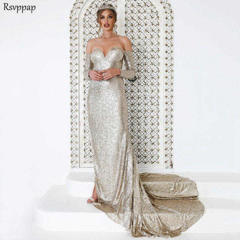 Long Sexy   Prom     Dresses   2019 Sweetheart High Slit Long Sleeve Rose Gold African Sequined Mermaid   Prom     Dress