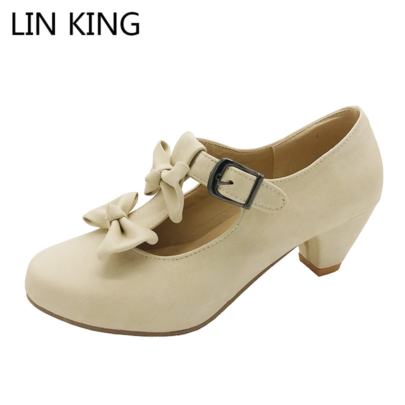 LIN KING Women Sweet Bow Lolita Low Heel Dress Shoes Princess Pumps Student Party Shoes Casual Spring Round Toe Ladies Pumps princess sweet lolita shoes royal harajuku pink strawberry bell cute bow round toe pumps for young girl custom color can choose