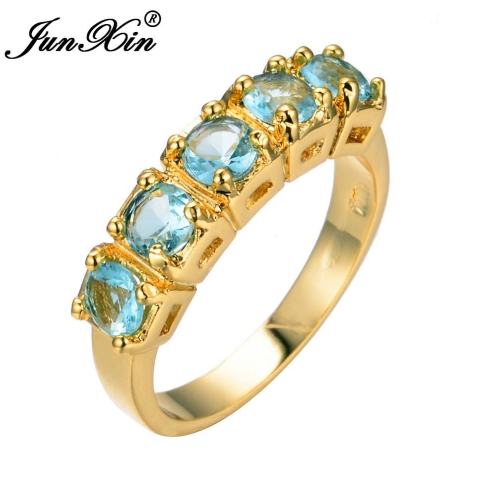 Junxin Men Women White Light Blue Zircon Ring Wedding Rings High Quality  Yellow Gold Filled Jewelry