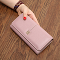Real Genuine Leather Wallet Women Luxury Brand Womens Wallets and Purses Quality Cow Leather Long Clutch Wallets Designer Female
