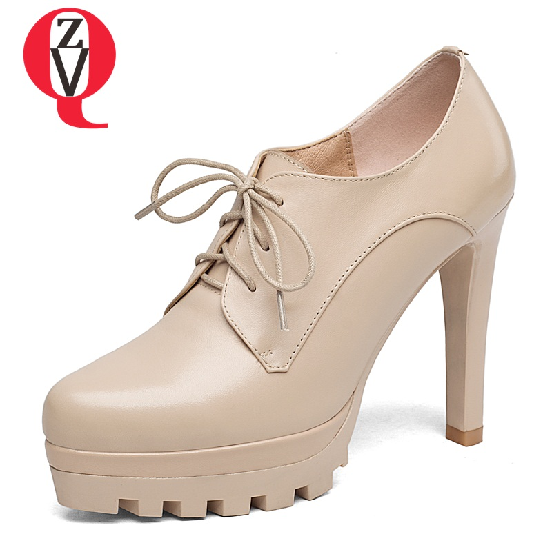 ZVQ spell able solid lace-up genuine leather high heel single shoes graceful curve design chaussures platform woman pumps graceful women s pumps with beading and platform design