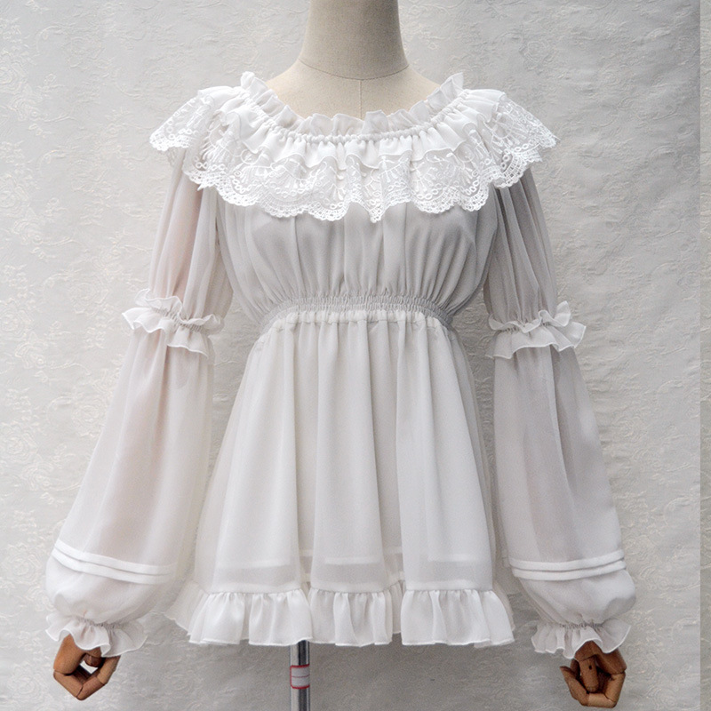 Female Autumn Full Sleeve Chiffon Shirts Agaric Lace Collar Shirts Ruffles Hem Women Elegant Princess Vintage Lady Lolita Blouse