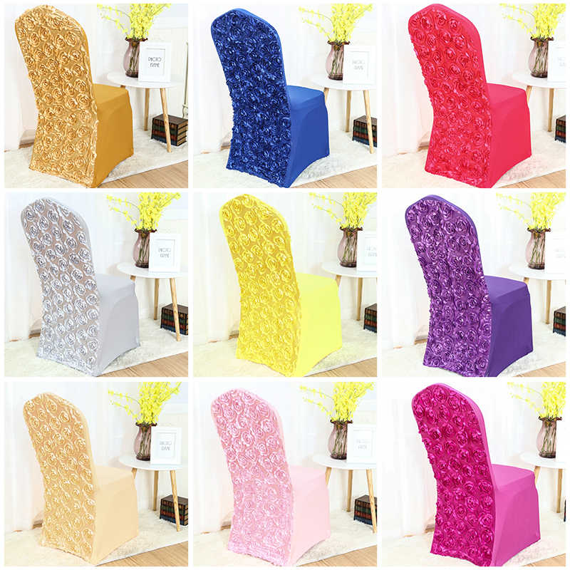 Various colours spandex chair covers Rosette chair cover rose flower design Lycra for wedding banquet hotel decoration
