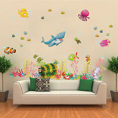 Under The Sea Wall Stickers Home Decals Shark Octopus Fish Kids Diy