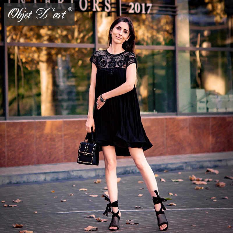 2017 летнее платье  женское Emboridery Кружева Плиссе Короткие Шифон платья Sexy Party Платья Элегантный Повседневная Абрикос коктейльное платье